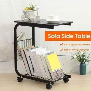 Metal Side Table C-Shape Laptop Desk Coffee Tea Table Living Room Storage Rack Movable Sofa Bed Side Tables with Lockable Wheels
