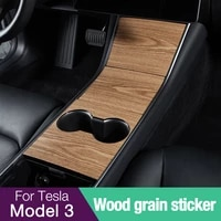 tesla model 3 y center console warp kit cover wood pattern sticker 3pcsset console protective decorations decal car accessories