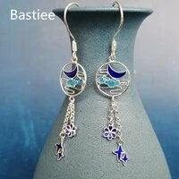 bastiee cloisonne enamel miao 999 sterling silver earrings for women moon star cloud earing blue luxury jewelry handmade vintage