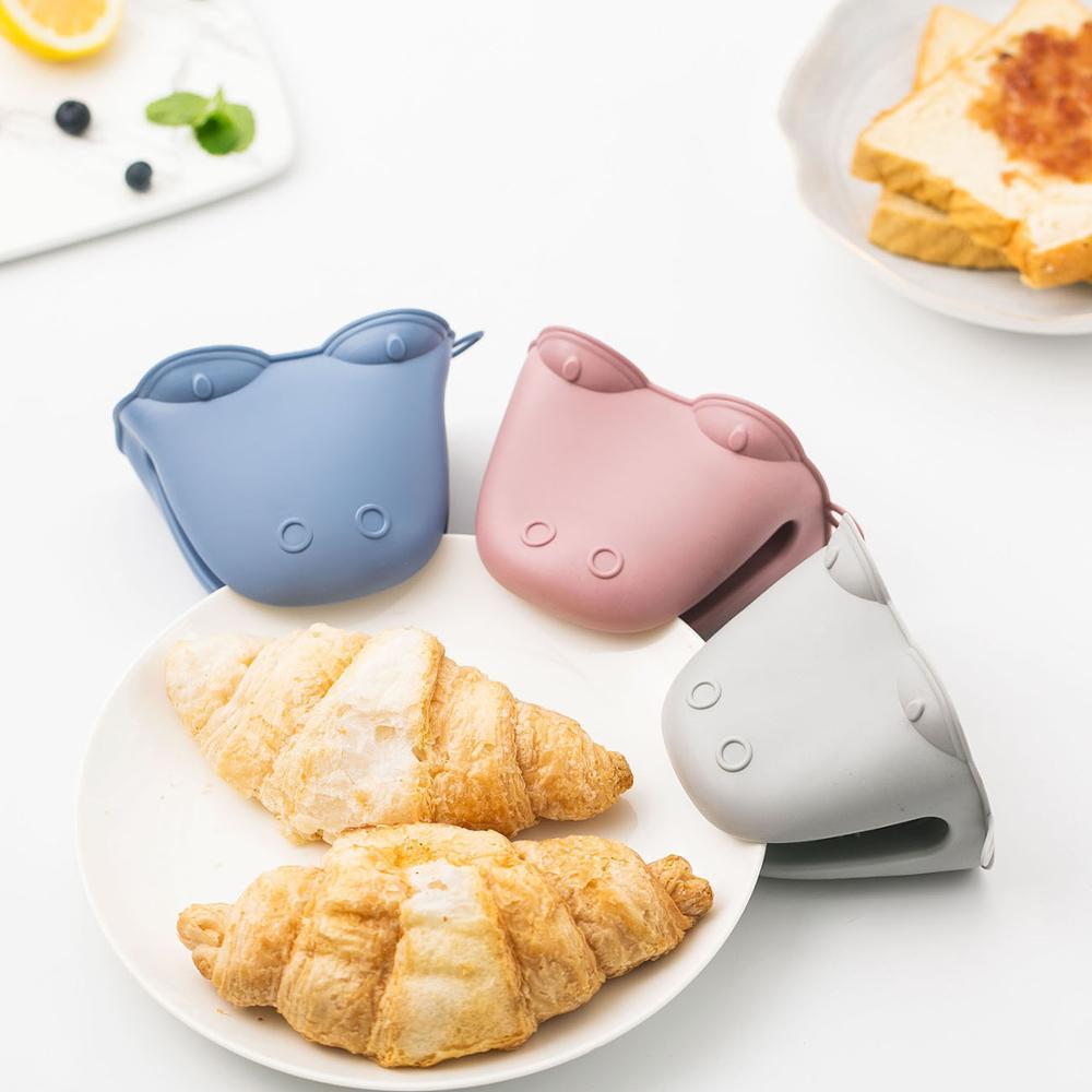 1 pc bonito luvas de forno de silicone titular pote luvas de forno de microondas resistente ao calor luvas para churrasco cozinhar ferramentas de cozinha potholder