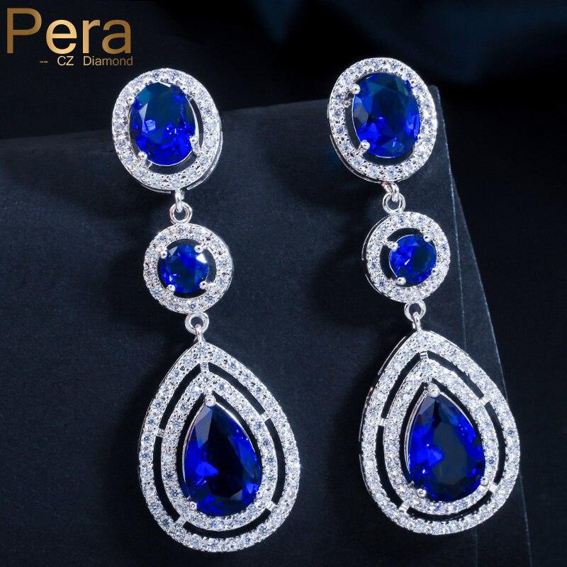 Женские серьги Pera, длинные серьги из фианита темно-синего цвета с цирконием E041