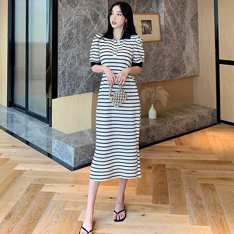 dresses mayoral 10686388 casual dress with short sleeves for girls Korean Female Dresses 2021 New Fashion Stripes Women'S Casual Dress One-Piece Summer Elegant Slim Lapel Short Sleeves Dress
