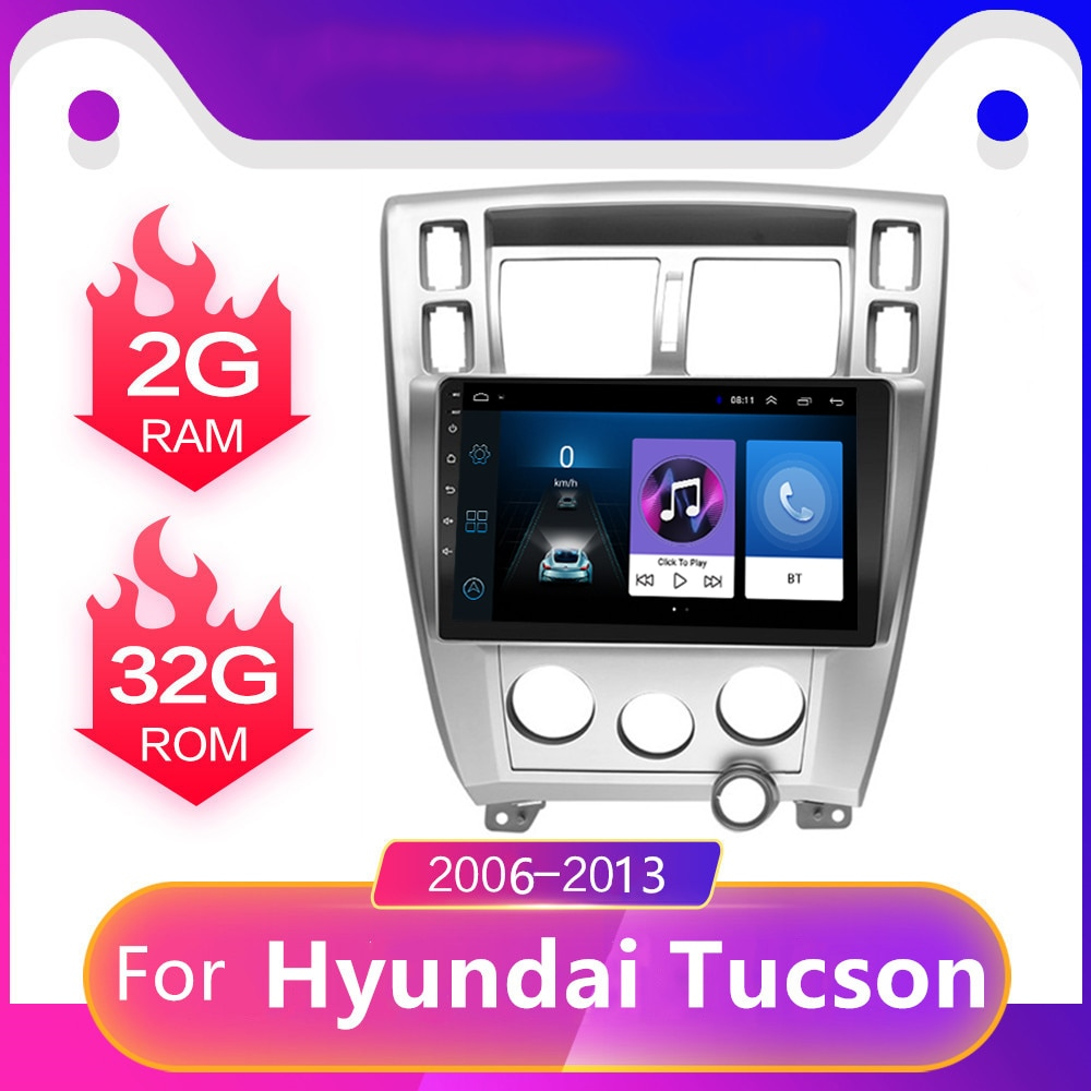 10.1-אינץ אנדרואיד 8.1 מולטימדיה לרכב נגן 2.5D GPS ניווט Bluetooth סטריאו וידאו רכב רדיו עבור 2006-2013 יונדאי טוסון