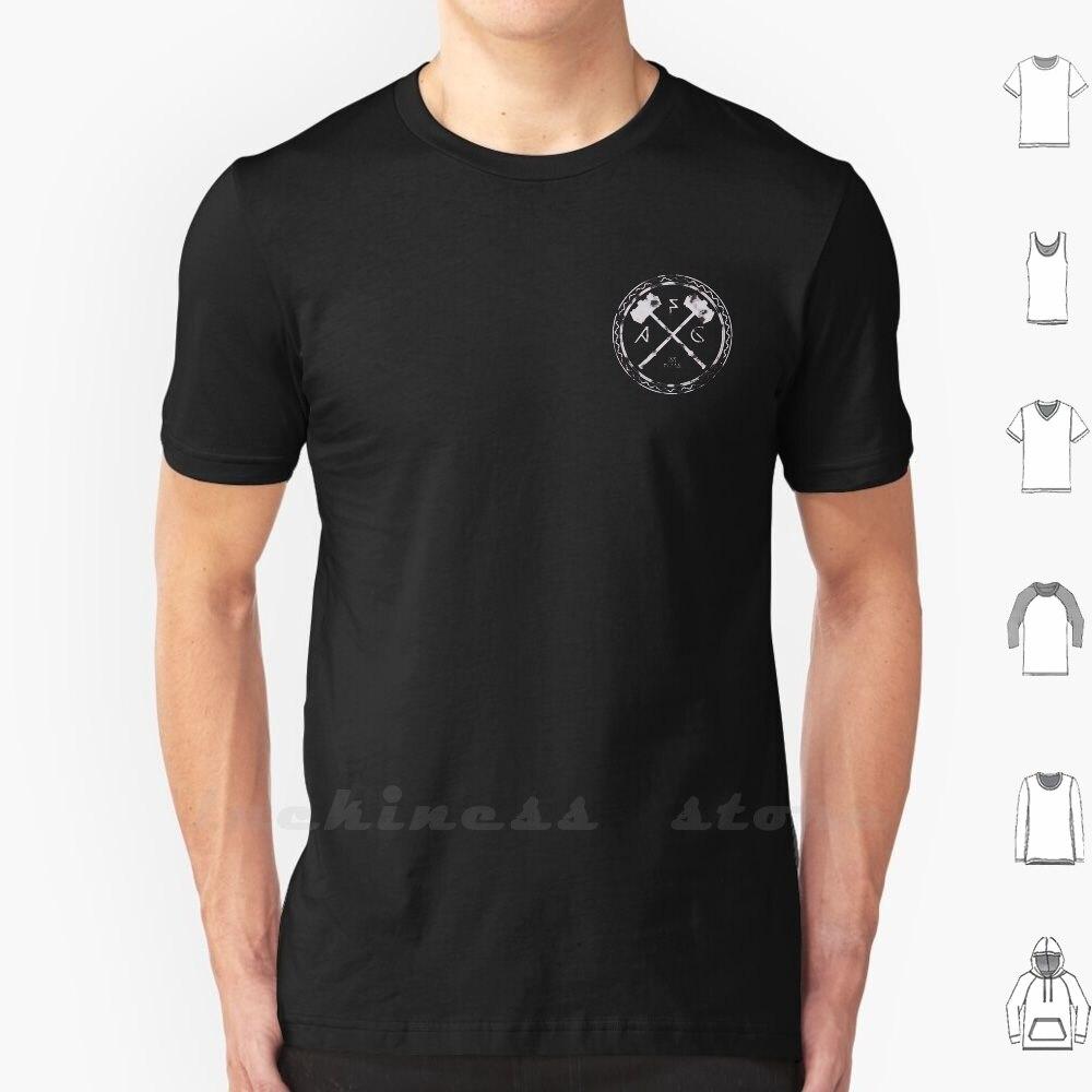 Asgardiano Fight Club   Branco (Tamanho do Bolso) camiseta Tamanho Grande Martelo de Asgard o Clube da Luta Fightclub Monocromático Preto Círculo Branco