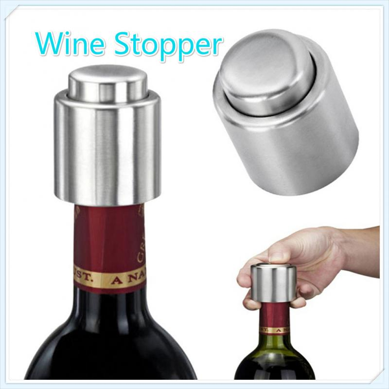 Tapón de vino al vacío de acero inoxidable plateado elegante, sello de bomba de sellado, tapón de flujo de tipo Push para tapa, dispensador de tapa brillante