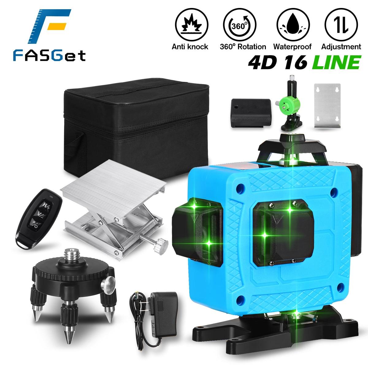 FASGET16/12 خطوط 4D ليزر مستوى الخط الأخضر SelfLeveling 360 أفقي وعمودي سوبر ليزر قوي المستوى ليزر أخضر