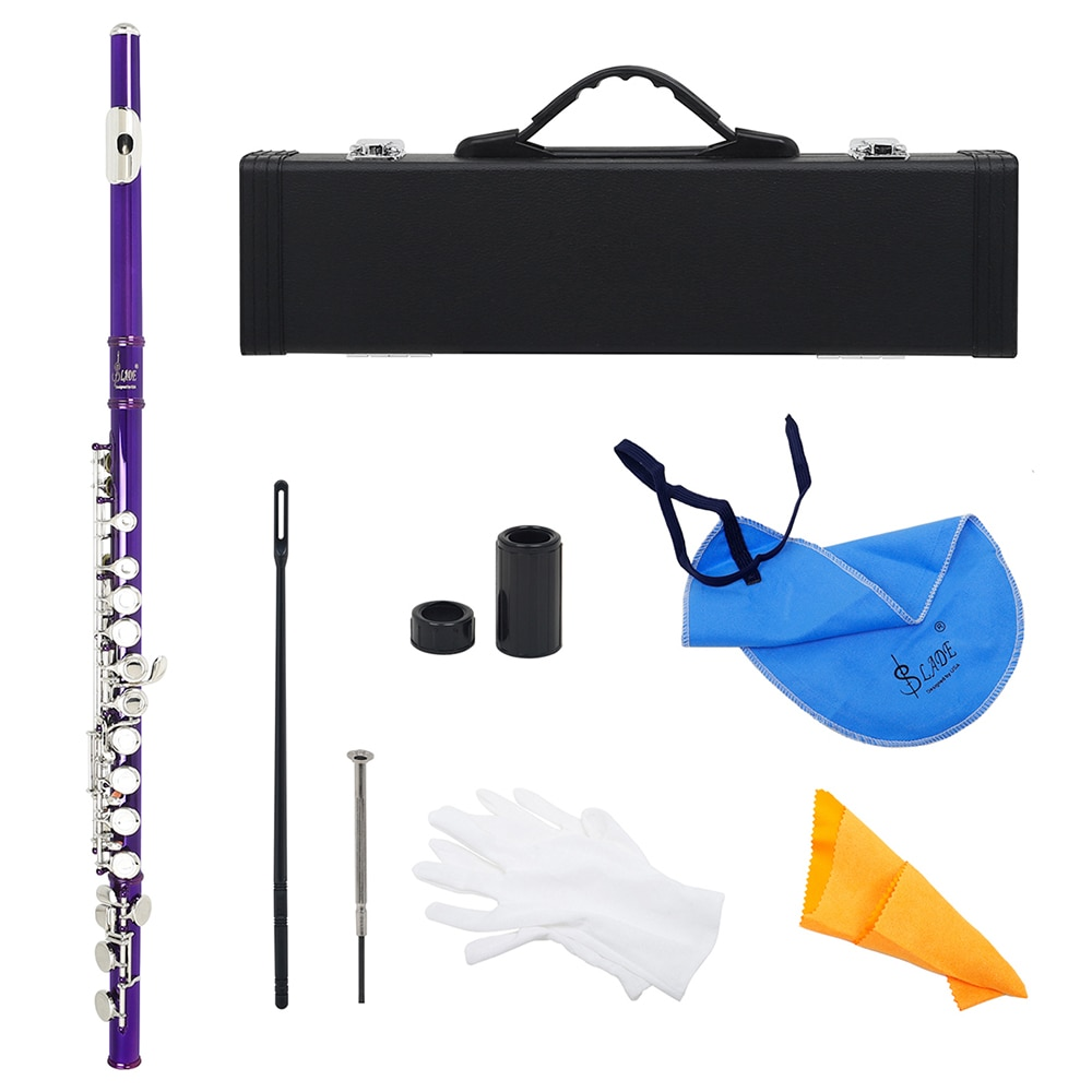 m giuliani grand duo concertant for guitar and flute op 130 M MBAT  Purple 16 Holes Flute C Tone Closed Hole Silver Key Cupronickel Flute Woodwind Instrument With Flute Case Cleaning Cloth