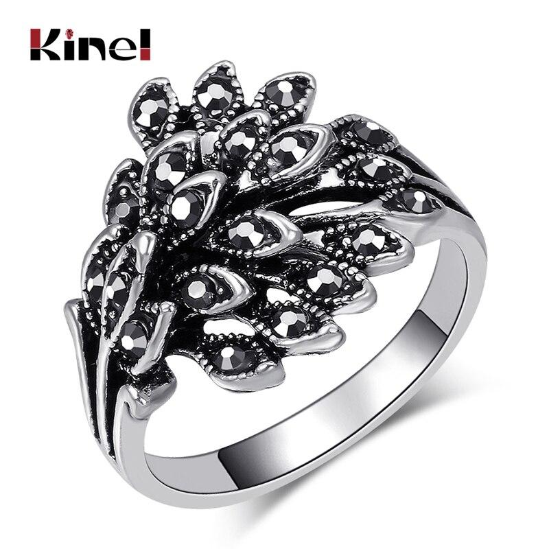 ¡Oferta! ¡venta al por mayor! Anillos de boda Kinel Vintage para mujer, mosaico de plata tibetana, Anillo de cristal negro, accesorios de regalo