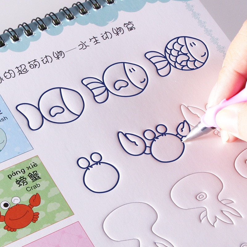 Caderno de treinamento reutilizável com sulco, pintura básica, livro de cópia com as mãos para treinamento, brinquedos educativos para crianças