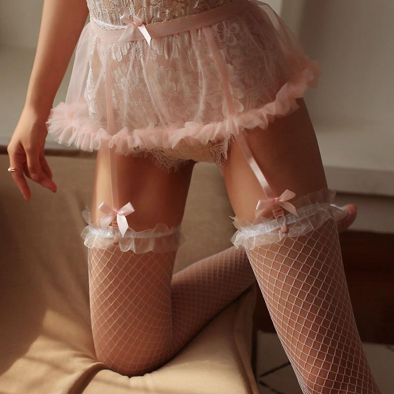 Liga de lencería Sexy Kawaii para chica joven con lazo, falda Puff dulce, Clip para liga, Liguero de boda de mujer para medias