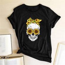 Футболка с забавным черепом в стиле панк, женская модная повседневная футболка с коротким рукавом, футболки с цветами, Женская сорочка, топы Mujer Verano 2019