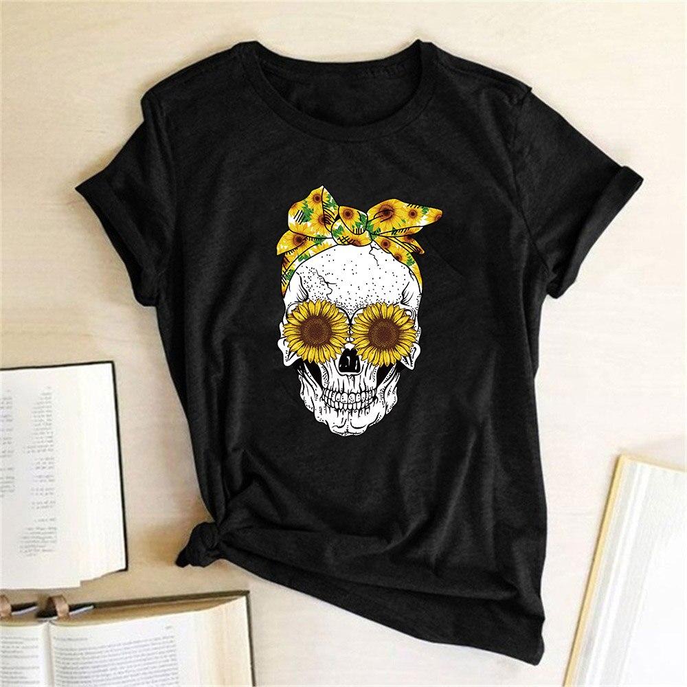 Hillbilly engraçado crânio punk t camisa feminina moda casual manga curta sol flores tshirts chemise femme topos mujer verano 2019