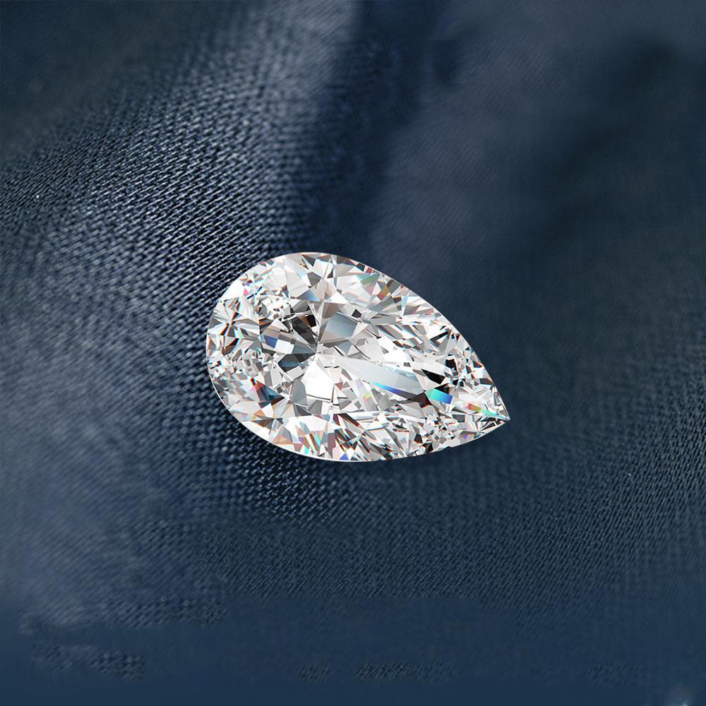 Szjinao-أحجار كريمة مويسانيتي سائبة ، 100% ، 1.25 قيراط ، 6 × 8 مللي متر ، لون D ، VVS1 ، ألماس على شكل كمثرى ، مختبر ، غير محدد لخاتم الماس