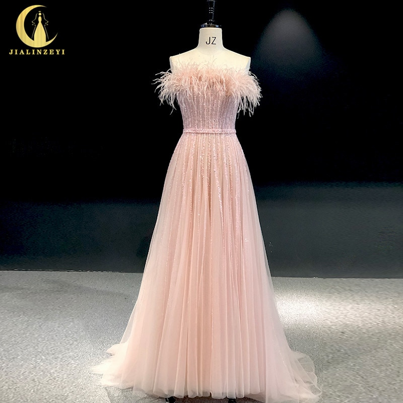 Rhine Real Picture Pink Strapless Feathers Beads A-line Robe longue abiti da seradress women evening dress long formal dresses