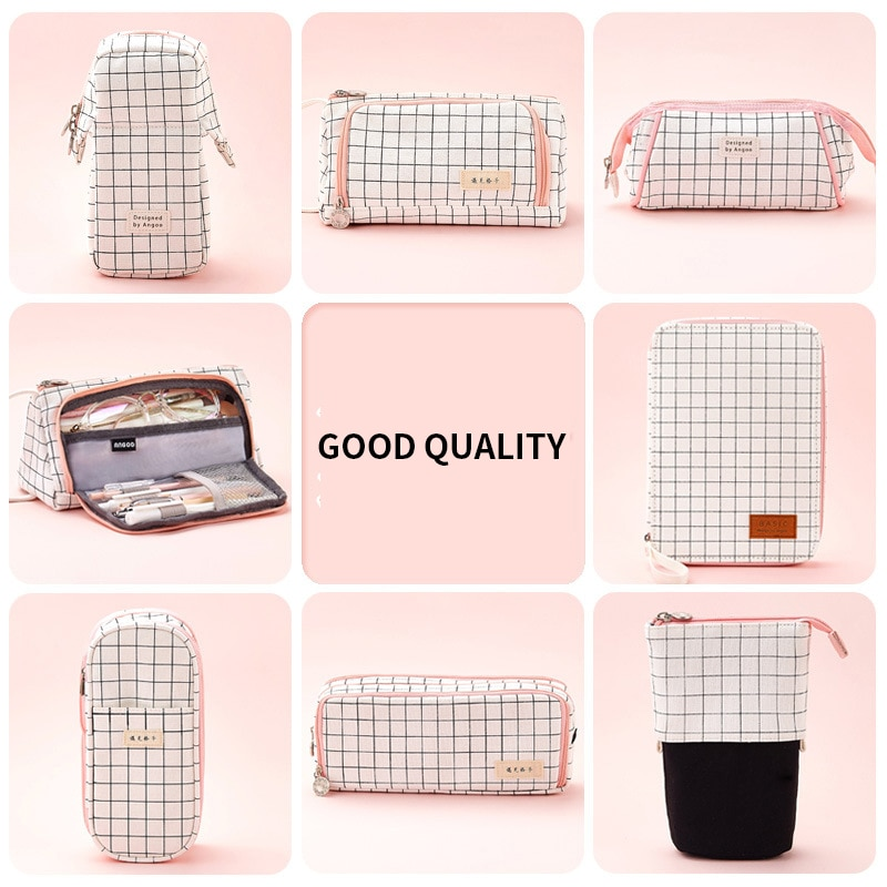 simple camouflage pencil case small fresh large capacity pen box student student stationery bag pencil bag orange INS Large Capacity Fresh Cute Pencil Case Girl Boy Student Multifunction Stationery Pen Brushes Bag Pouch Box For School Student