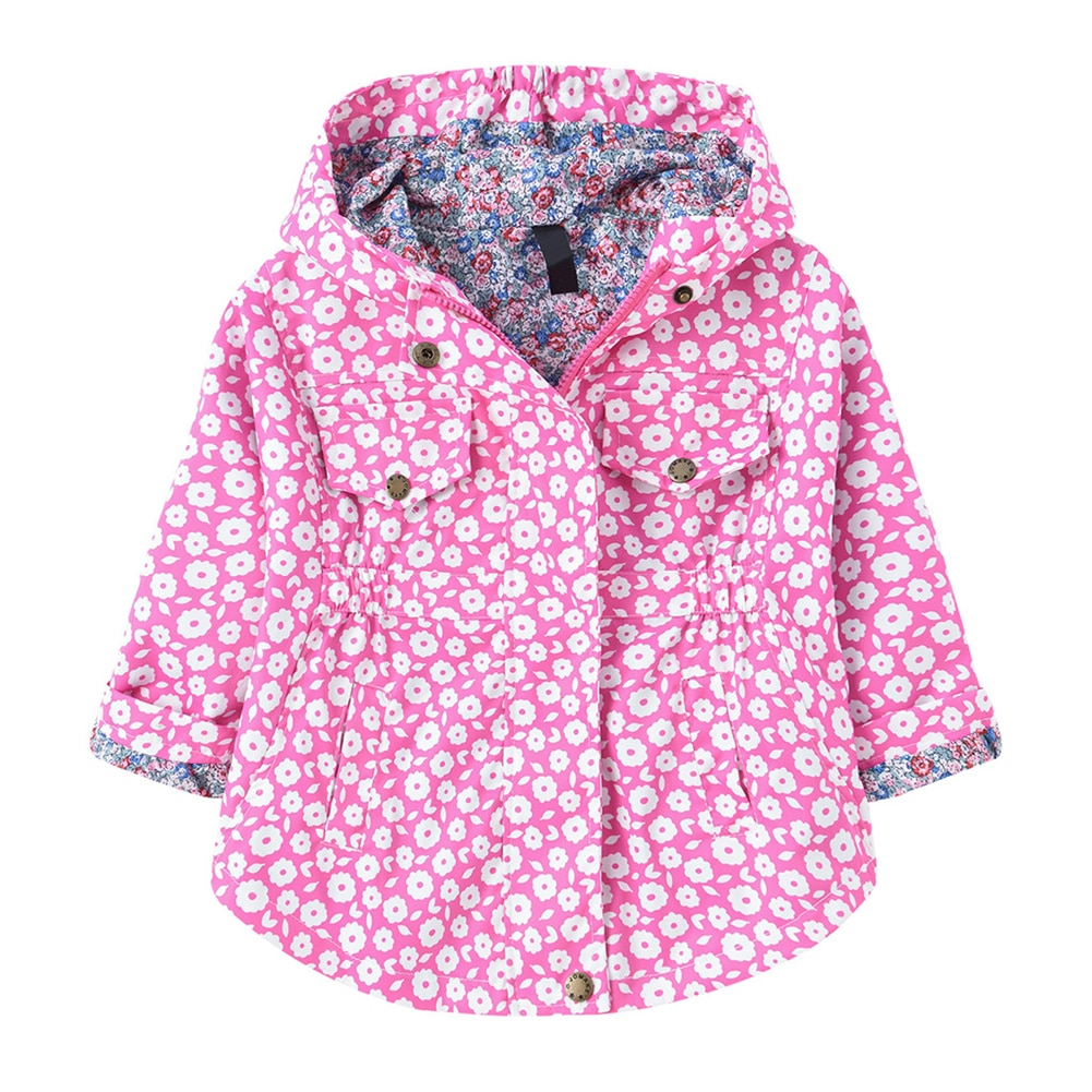 Girls Hooded Coat Print Jackets Casual Outerwear Autumn Children Long Sleeve Tops Elastic Waist Clothes Outdoor Flower Clothing