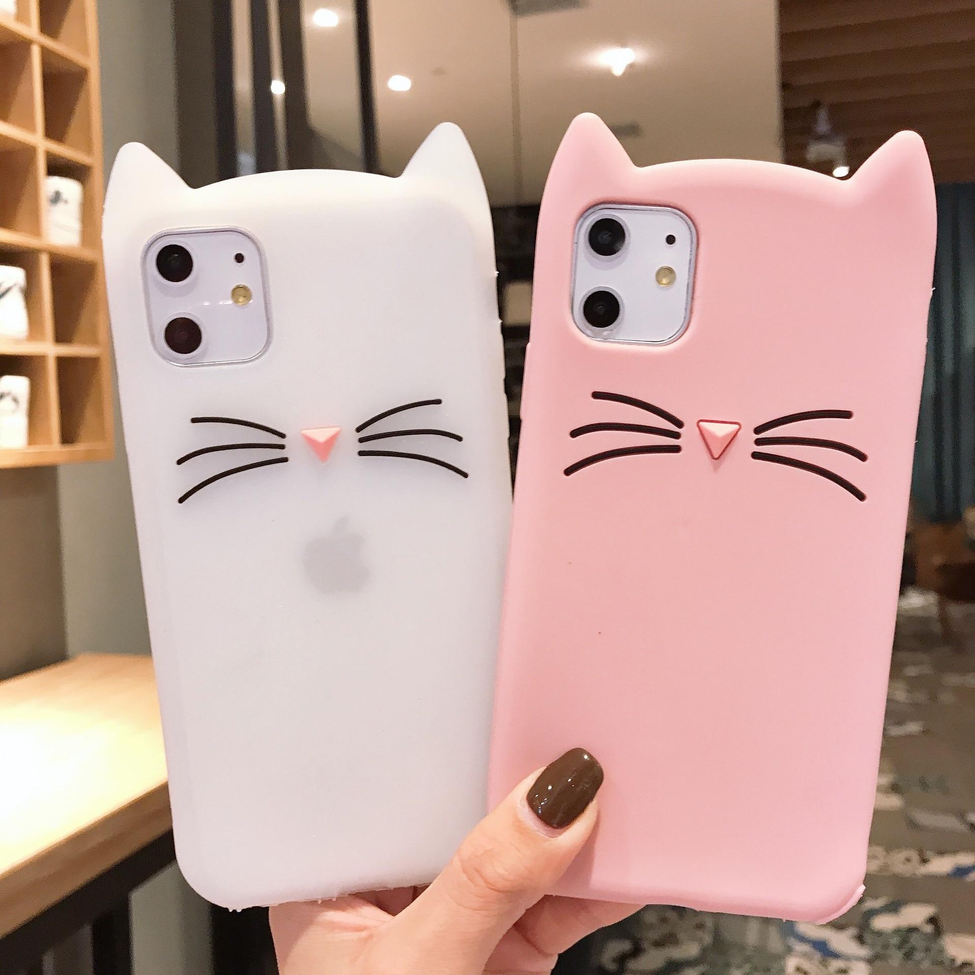 Linda funda de teléfono 3D Cat para iPhone11 Pro X XR XS Max 8 7pluse 6 6S suave funda de teléfono de silicona líquida Anti-caída encantadora funda negra