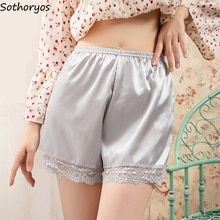 Sleep Bottoms Women Solid Simple Shorts Silk Satin Summer Breathable Safety Loose Trousers Home Loun