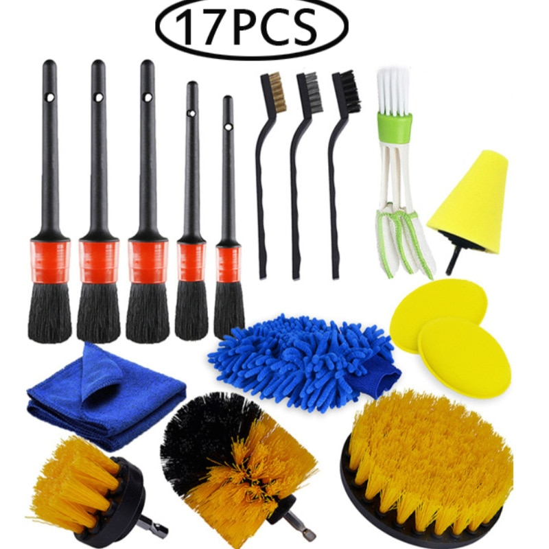 17Pcs Car Beauty Car Wash Detail Brush Brush Driver Set Vent Brush Set Car Leather Air Vents Rim Dirt Dust Cleaning Tools