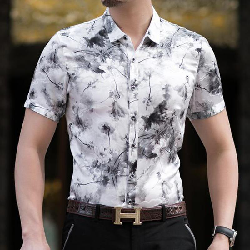 High Quality Real Ice Silk Mens Shirts Strench Chinese Style Clothes Big Size Cozy Fashion Man Clothes Husband Blouses Large New