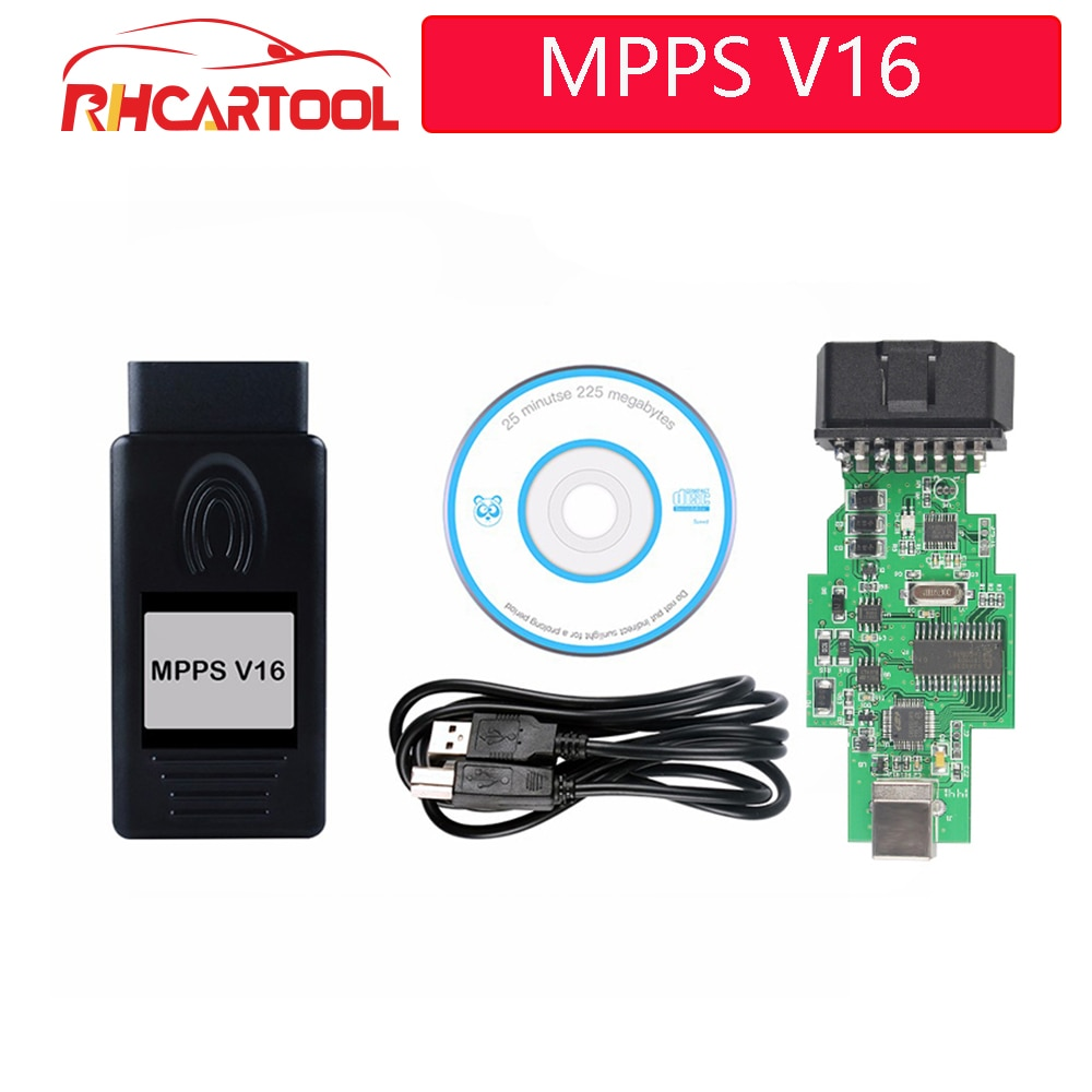 OBD2 nuevo MPPS V16 caja de sintonización con chip ECU para automóvil coche/Interfaz para coche Multi-idioma OBD OBDII leer y escribir ECU intermitente para RDC15 EDC16 EDC17