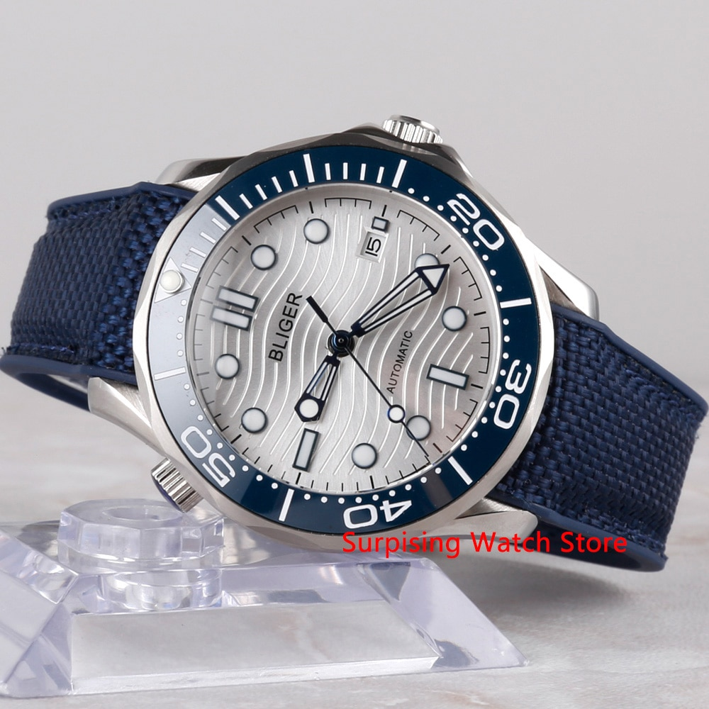 Bliger 41mm reloj mecánico automático para hombre reloj de lujo correa de goma luminosa impermeable reloj de pulsera de calendario militar para hombres