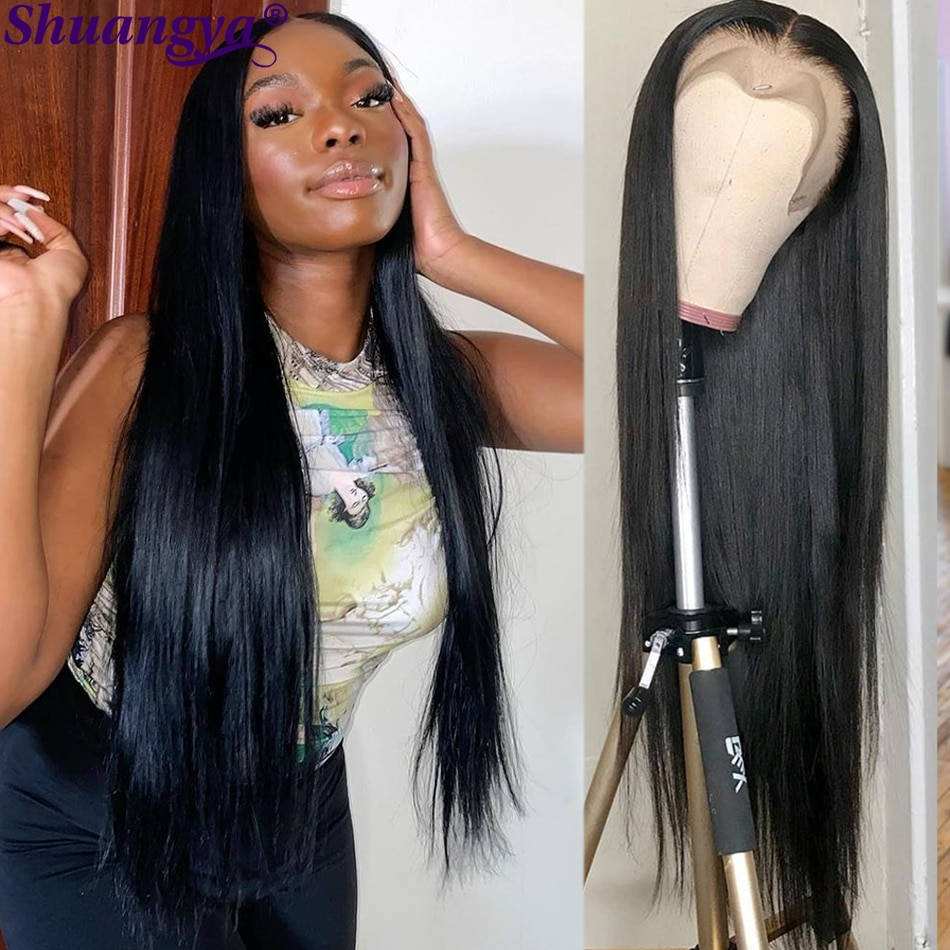 Bone Straight Hair 5x5 HD Lace Closure Wig 30 Inch Peruvian Straight Human Hair Lace Wigs 100% Remy Human Hair Lace Front Wigs