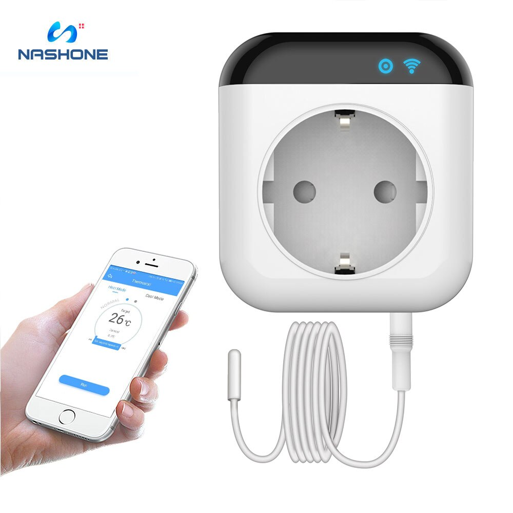 Nashone Wifi termostato Smart Socket FR,EU, UK Standard 220V termostato, cuenta atrás de sincronización, medidor de potencia funciona con sistema Android