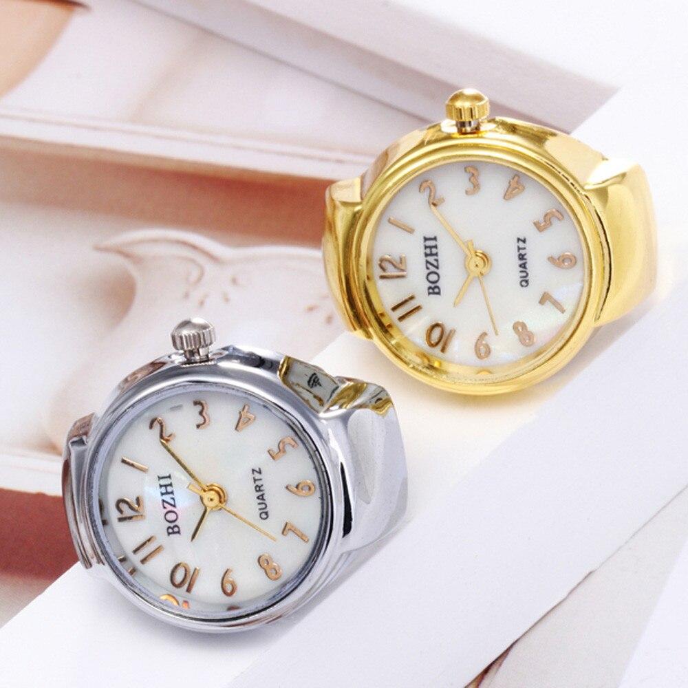 Elegante jóias nova moda dial quartzo analógico relógios de aço criativo legal elástico quartzo criativo liga dos homens relógio anel