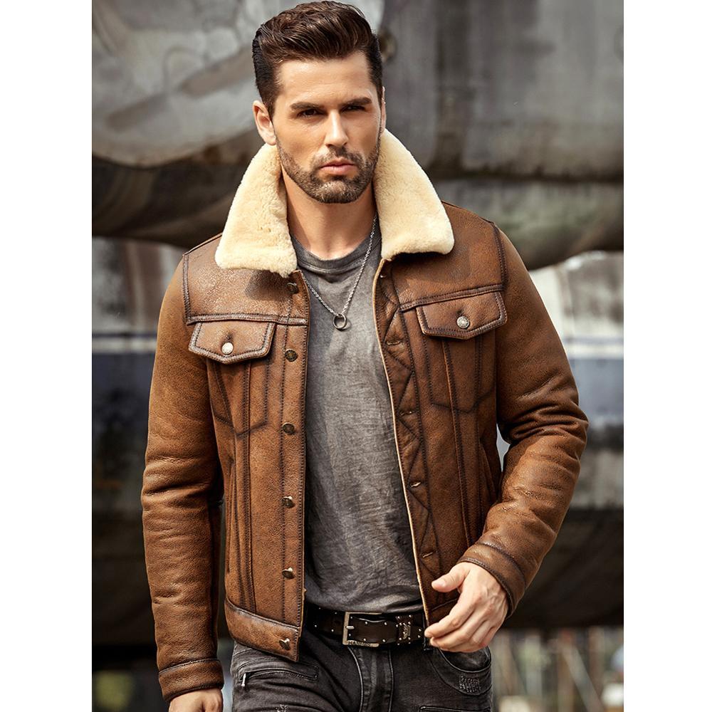 Mens Sheepskin Shearling Jacket B3 Flight Jacket Aviator Winter Coat Fur Bomber Leather Jacket Brown Denim Jacket