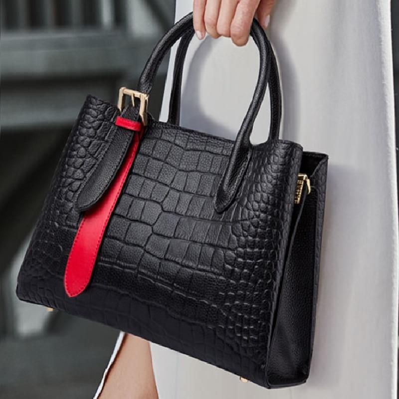 ZOOLER Brand 2020 Designer genuine leather Women Tote bags Luxury Shoulder bags Crocodile Purses Cow Leather Handbags Colors