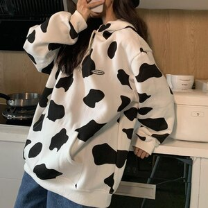 HOUZHOU Cow Print Hoodie Women Kawaii Milk Thin Hooded Sweatshirt Loose Oversized Autumn Long Sleeve Top Streetwear Cute Clothes