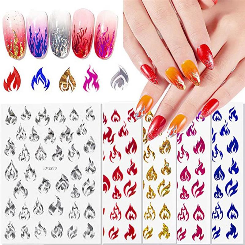 5PCS Flame Nail Art Decals for Women Flame Nail Stickers Nontoxic Nails Manicure Decoration Manicure