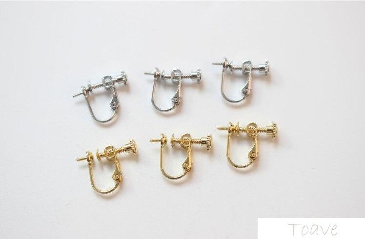 Material de oro verdadero Chapado en cobre de 18k con protección de Color, se puede pegar una sola perla, clip de oreja, pendientes sin oreja, material diy