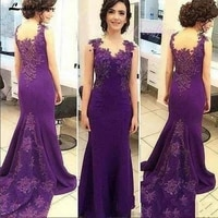 purple long mother of the bride dresses plus size mermaid evening dresses sweep train applique wedding guest dresses