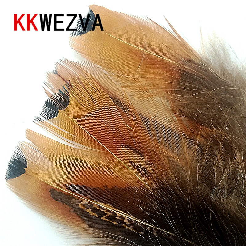 KKWEZVA 100pcs Natural Color Pheasant Feather Fly Tying Material for Fishing Flies Hackle Making per pack
