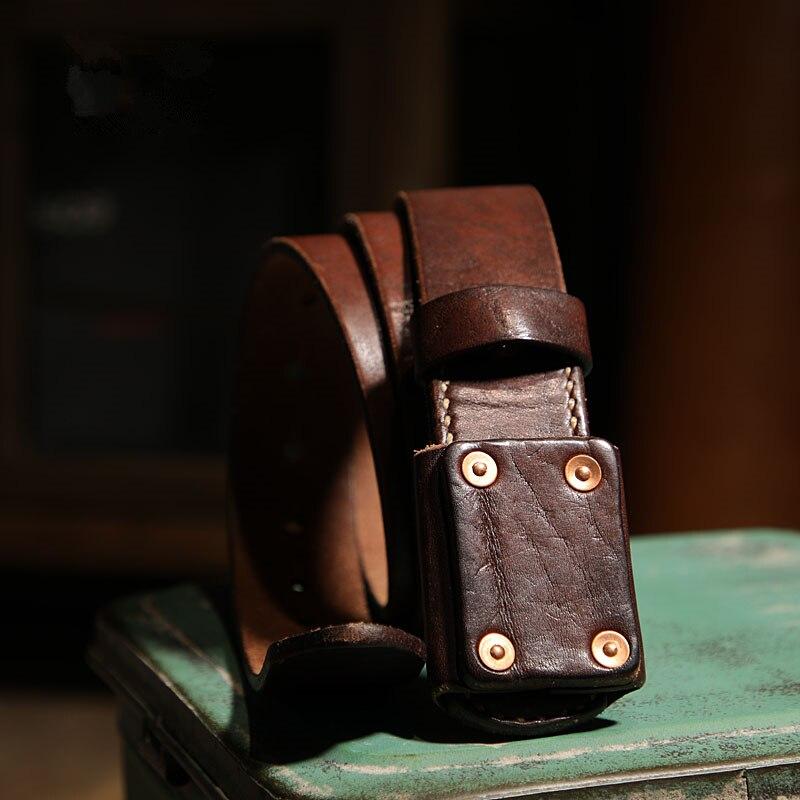 حزام رجالي من جلد البقر بنمط عتيق ، حزام قوي ومتين ، دباغة مغسولة ، جلد البقر ، ريترو ، يدوي ، سميك ، 3.8 سنتيمتر ، Harajuku