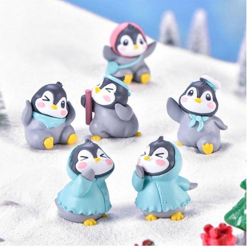 Куклы Kawaii 6 шт./компл. милый Пингвин модель Мультяшные украшения микро ландшафтное украшение «сделай сам» украшения брелок подарок Y328