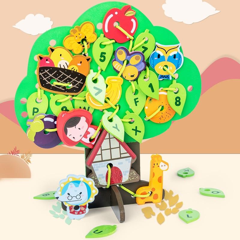 Деревянные игрушки, детские Мультяшные фруктовые блоки Монтессори, Игрушки для раннего развития, игрушки из бисера, подарок для детей