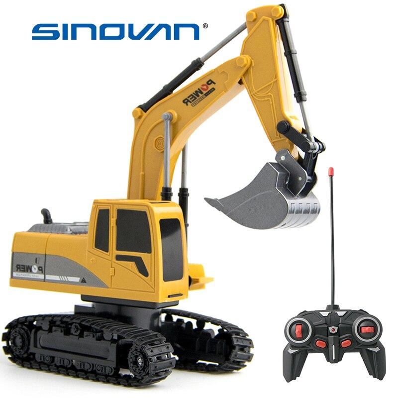 Sinovan-coche teledirigido 1:24, excavadora de juguete con luces, coche de ingeniería, Traktor...