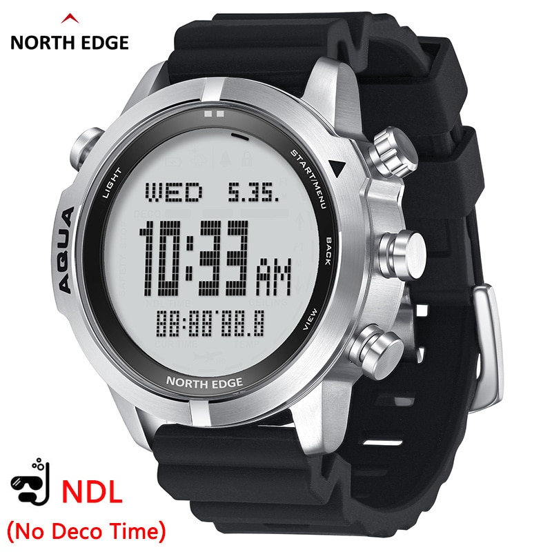 NORTH EDGE-ساعة غوص احترافية للرجال ، جهاز غوص سكوبا (بدون وقت ديكور) ، ساعة غوص 50 متر ، مقياس الارتفاع ، بوصلة بارومتر