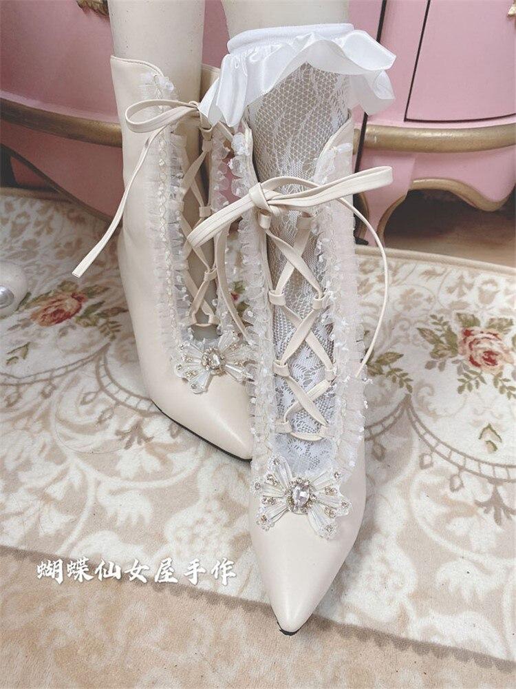 خمر لوليتا الأحذية الدانتيل يصل خنجر عالية الكعب 7 سنتيمتر سيدة الحلو Loli قصيرة التمهيد الإناث قصر الأميرة الفرنسية لوليتا أحذية النساء