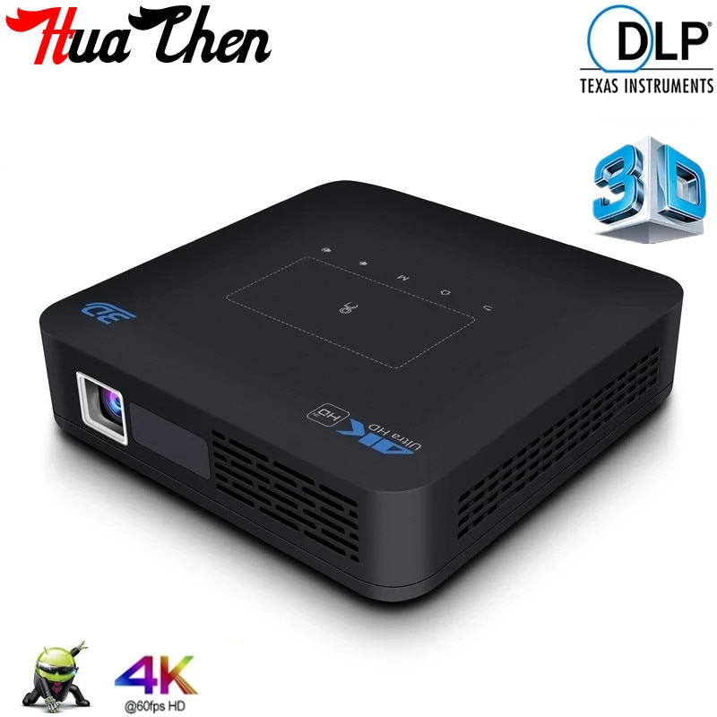 Promo 2021 Smart 3D P15 Projector 4K HD DLP Android 9.0 WIFI2.4/5G  LED Portable Home Office 4GB+32G 1920*1080P Mini MicroHD Projector
