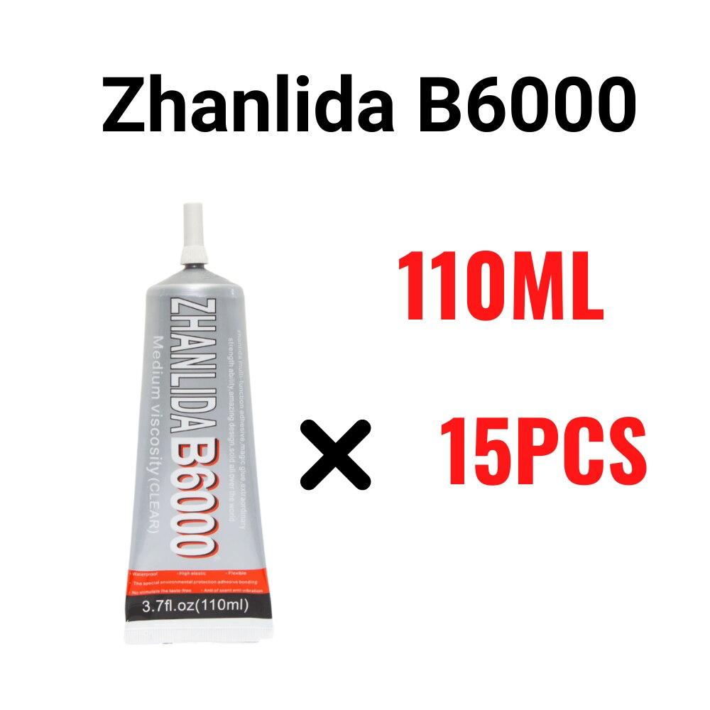 adesivo claro do contato do bloco zhanlida 110ml b6000 de 15 pces com a ponta do