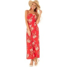 CN 2021 Summer Floral Print Boho Jumpsuit Women Sexy Backless Lace Up Jumpsuit Chiffon Spaghetti Str