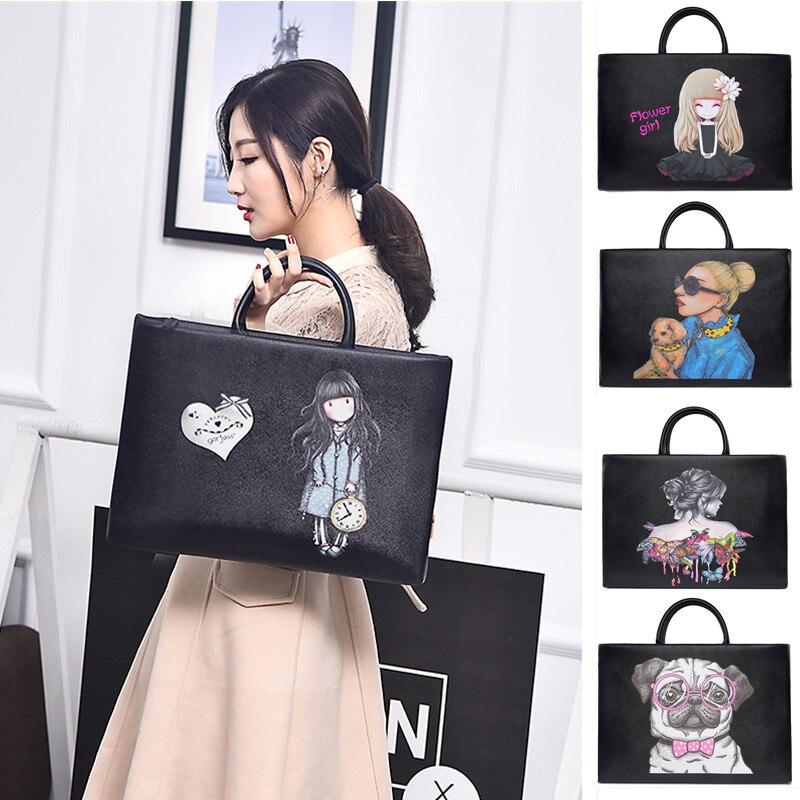 Bolso portátil mujer de dibujos animados PU bolso Universal de oficina para macbook pro 13 14 15 15,6 pulgadas Bolsa de ordenador con bolsa de fuente de alimentación