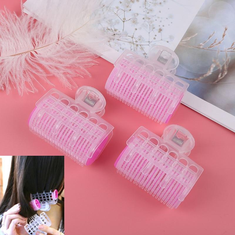 3pcs Pink Plastic Hair Curler Hair Roller Clips Self Grip Hair Curler Big Loop DIY Hairdressing Make