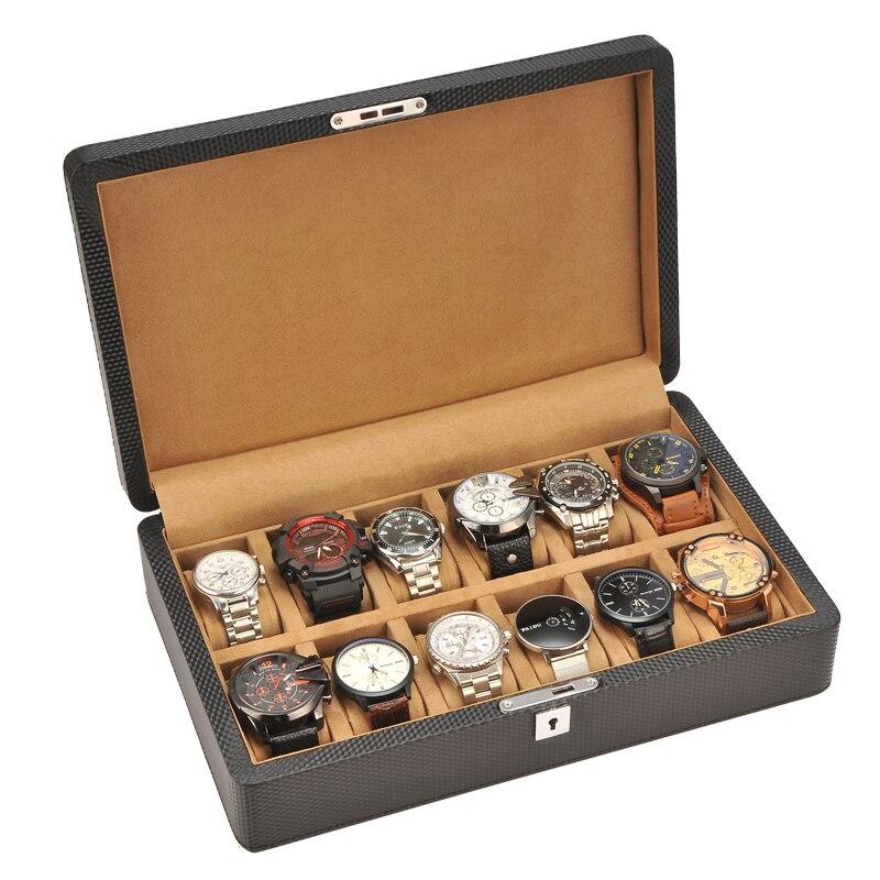Slots de Luxo Caixa de Relógio de Qualidade Titular para Relógios Moda Masculina Couro Superior Relógio Masculinos 200911-40 12