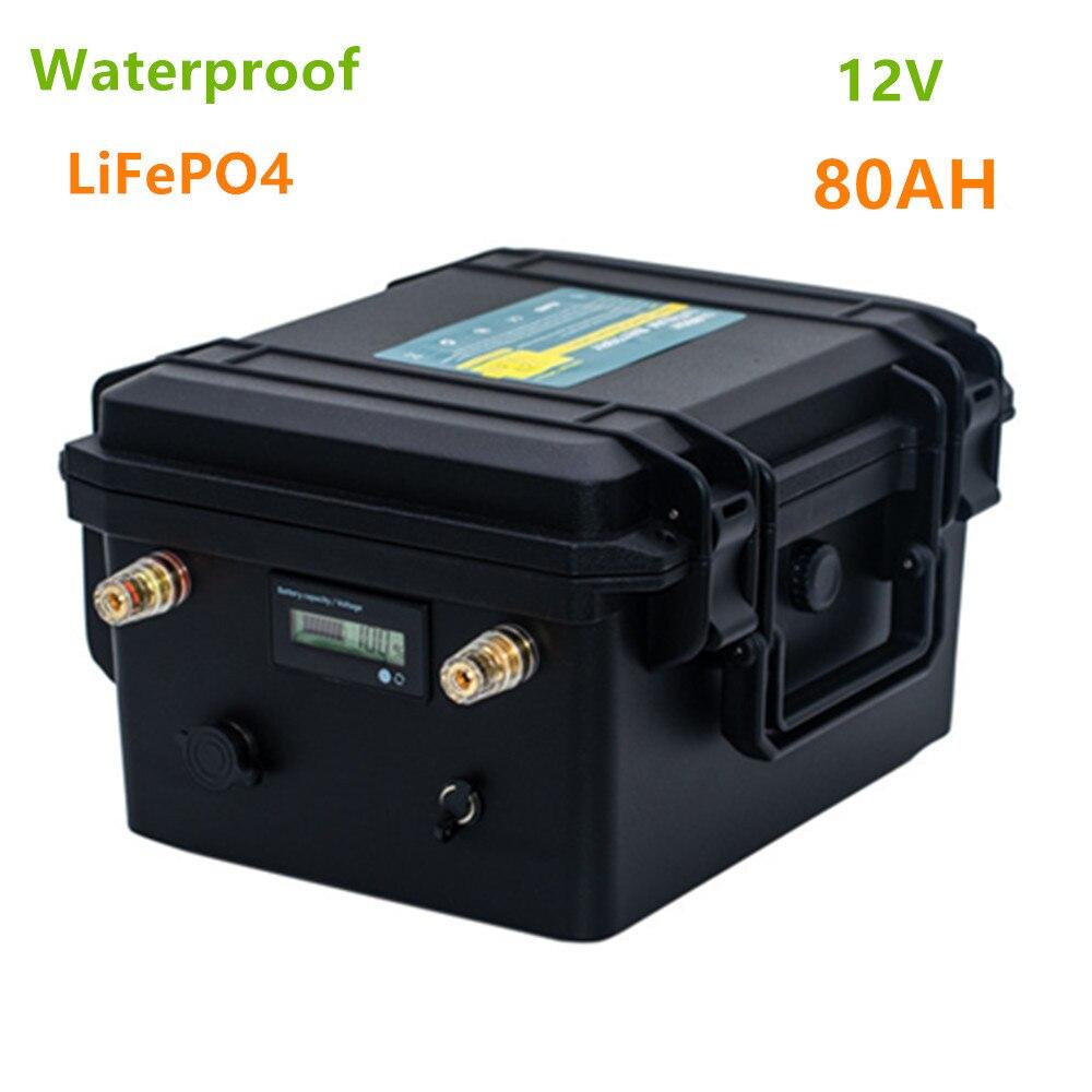 Lifepo4 12V 80ah batterie au lithium pack 12V lifepo4 80AH batterie étanche pour bateau propelle/moteur, LED solaire, onduleur, etc.
