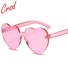 CRSD 2020 Heart Rimless Fram Candy Color Sunglasses Women Integrated Colorful Sun Glasses Round Sung